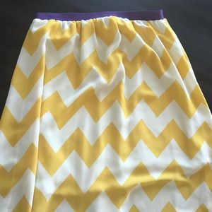 Yellow and white chevron skirt